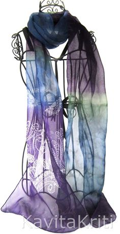 Silk Scarf hand painted in violet, ink blue and fern green with peacock motif by KavitaKriti, $55.00 https://www.etsy.com/listing/152790175/silk-scarf-hand-painted-violet-silk?ref=shop_home_active