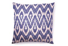 Cotton Ikat Diamond 20x20 Pillow, Blue on OneKingsLane.com