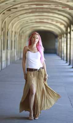 I love to pair my pink hair with boho chic outfits!