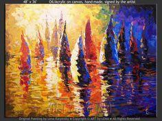 "Original art for sale by the artist. Canvas painting ""Sunset Regatta"" by Canadian artist Lena Karpinsky."