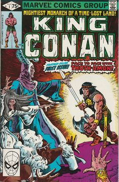 Click the cover below to load a high-resolution version: Number King Conan (Marvel - Cover art by John Buscema Inked by Ernie Chan At in the count down is King Conan from This is great one by arguably the best Conan art team ever - Big John Buscema… Rare Comic Books, Vintage Comic Books, Comic Book Covers, Vintage Comics, Comic Books Art, Comic Art, Red Sonja, Conan The Barbarian Comic, Conan The Destroyer
