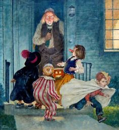 Cover of The Saturday Evening Post, Halloween Edition | From a unique collection of figurative paintings at https://www.1stdibs.com/art/paintings/figurative-paintings/