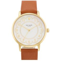 kate spade new york 'metro' scalloped dial leather strap watch, 34mm found on Polyvore featuring polyvore, women's fashion, jewelry, watches, accessories, gold tone watches, kate spade, gold tone jewelry, kate spade watches and leather strap watches