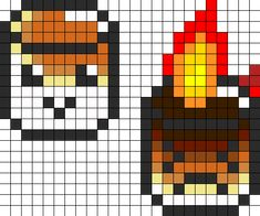 Roasted Marshmallows Perler Bead Pattern | Bead Sprites | Food Fuse Bead Patterns