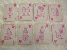 Here is a Valentines set of 14 inspired playing cards bearing images from Alice in Wonderland! The backs are stamped with the title as seen in the