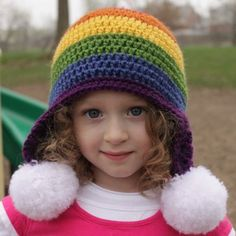 Rainbow Hat [Free Crochet Pattern] - this is super cute with the poms!