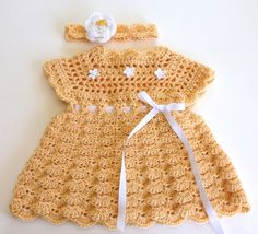 Crochet Pattern, Baby Dress & Headband, Shelly, PDF 12-109 INSTANT DOWNLOAD