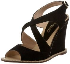 Andr Assous Womens Facelest OpenToe Sandal Black Suede 405 M EU95 M US * Find out more about the great product at the image link.