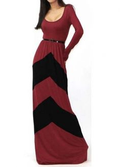 Elegant Color Block High Waist Dress with Long Sleeve