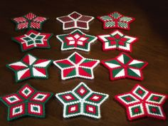 - Plastic Canvas Christmas Stars (Set of three) - Your choice of colors and styles - Magnets/Ornaments/Coasters - Customizable Plastic Canvas Coasters, Plastic Canvas Ornaments, Plastic Canvas Crafts, Plastic Canvas Patterns, Altar, Christmas Coasters, Plastic Canvas Christmas, Needlepoint Patterns, Canvas Designs