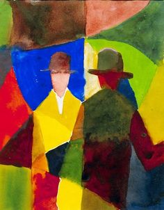Auguste  Macke (1887-1914)  was one of the leading members of the German Expressionist group Der Blaue Reiter. n 1912 Macke met the French painter Robert Delaunay, who worked in a colourful Cubist-influenced style called Orphism. Subsequently, Macke introduced a Cubist analysis of form into his own paintings. Throughout the evolution of his style, Macke generally remained faithful to Impressionist subject matter, portraying contemporary scenes of urban leisure.