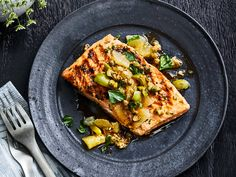 This Grilled King Salmon with Meyer Lemon Relish recipe gets its flavor from shallots, capers, and Castelvetrano olives. Get the recipe from Food & Wine. Relish Recipes, Wine Recipes, Soup Recipes, Recipies, Grilled Lamb, Grilled Salmon, Grilled Fish, Salmon Recipes, Outfits