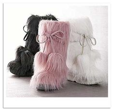 VS furry boots. I have the black & white pair(:(: