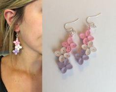 Paper Earrings Dangled Earrings Hoop by SarahHuebnerDesigns