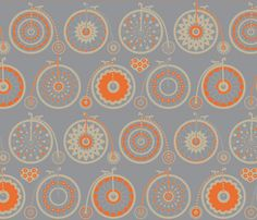 Bicycle Love - grey & orange By: kayajoy on Spoonflower.  Love this style of old fashioned bike with the giant front wheel.