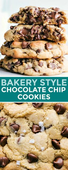 Easy and delicious bakery style chocolate chip cookies loaded with chocolate chips! These are going to be a hit! Recipe via chelseasmessyapron # simple Desserts Bakery Style Chocolate Chip Cookies Easy Chocolate Chip Cookies, Chocolate Cookie Recipes, Easy Cookie Recipes, Homemade Chocolate, Baking Recipes, Delicious Chocolate, Chocolate Desserts, Big Chocolate, Bakery Style Chocolate Chip Cookies Recipe