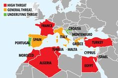 Safety levels for holiday spots around the Mediterranean