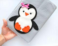Penguin Ipad Cover iPad Pouch Handmade felt iPad by Mariapalito, $25.00