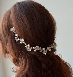 Gold wedding Hair Piece crystals and pearls Bridal headpiece Wedding hair vine Wedding Hair Accessories For Bride pearl Headband Bridal Pearl Headpiece, Headpiece Wedding, Bridal Headpieces, Pearl Headband, Crystal Headband, Pearl Hair, Wedding Accessories For Bride, Bridal Accessories, Bridal Jewelry