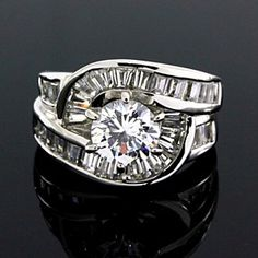 3.50 Carat D/VVS1 Round Cut Bypass Ring 14K White Gold by JewelryHub on Opensky