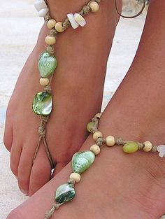 Barefoot Sandals Barefoot Beach Jewelry Green by SoftCrystal. so pretty!