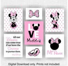 Disney Minnie Mouse Wall Art Love Minnie Disney by myfavoritedecor Minnie Mouse Room Decor, Minnie Mouse Nursery, Minnie Mouse Pink, Baby Mouse, Mickey Mouse Birthday, Mouse Paint, Girls Room Wall Decor, Fantasy Bedroom, Girl Room