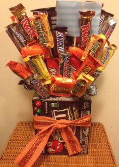 This is a custom made to order bouquet we can use any box candy you like and any types or mixed throughout
