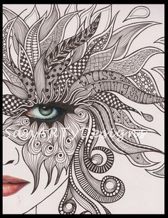 My newest artwork: a little bit of collage mixed with lots of zentangling. I needed the 'zen'-part. Zentangle Drawings, Mandala Drawing, Mandala Art, Zentangles, Cool Art Drawings, Art Drawings Sketches, Doddle Art, Doodle Art Designs, Pattern Art