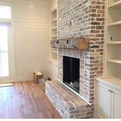 Whitewashing is a super cool and cost effective way to bring a little new life to old and outdated brick!
