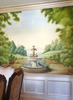 Dining Room Mural by Belle Arti | Rococo Pastoral Scene | Wainscot, Trim and…