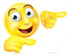 Emoji Emoticon Smiley Pointing by Krisdog A happy emoji emoticon smiley face character pointing with both hands