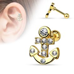 CZ Paved Anchor 316L Surgical Steel Cartilage/Tragus Barbell