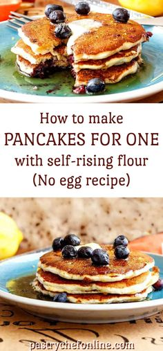 How to make pancakes for one person with self-rising flour. This no egg pancake recipe cooks up light, fluffy, and tender without eggs. Treat yourself for breakfast, brunch or breakfast for dinner with this easy pancake recipe you don Homemade Pancake Recipe No Eggs, Pancake Recipe Using Self Rising Flour, Ihop Pancake Recipe Without Buttermilk, Pancake Recipe Without Eggs, I Hop Pancake Recipe, Easy Homemade Pancakes, Vegan Pancake Recipes, Egg Recipes, Easy Waffle Recipe No Eggs