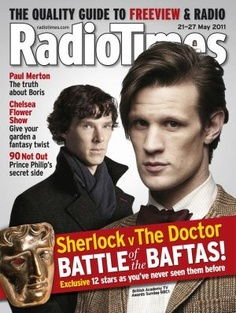 """Sherlock v The Doctor"", each RadioTimes cover presents both Benedict Cumberbatch and Matt Smith in the ""Battle of the BAFTAS"""