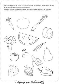 Pracovní list - Jídlo II. | Nápady pro Aničku.cz Health Activities, Activities For Kids, Happy Independence Day, Fruits And Vegetables, Easy Drawings, Dog Tag Necklace, Diy And Crafts, Kindergarten, Preschool