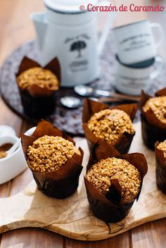 Muffins de plátano con harina integral Meal Prep Lunch Box, Cap Cake, Bakery, Food And Drink, Tasty, Favorite Recipes, Sweets, Meals, Cookies