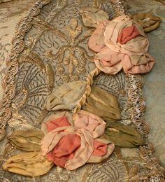 Nightshades - Victorian Lampshade with Silk Ribbon Roses Ribbonwork
