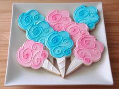 Cotton Candy Cookies~ By sugar bliss cookies, pink, blue Ice Cream Cookies, Fancy Cookies, Cute Cookies, Cotton Candy Cookies, Cotton Candy Party, Cupcakes, Cupcake Cookies, Cookie Favors, Iced Cookies