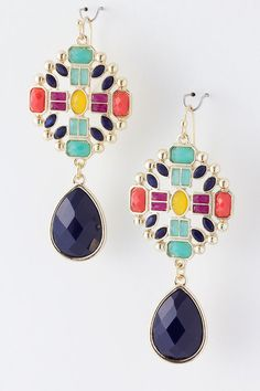 Navy Isabella Earrings on Emma Stine Limited