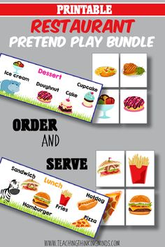 Order and Serve pretend food with this great restaurant pretend play bundle! Pretend Food, Pretend Play, Lunch Box Notes, Educational Activities For Kids, Ice Cream Desserts, Community Helpers, Gross Motor Skills, Dramatic Play, Great Restaurants