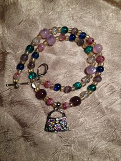 Born Shopper-- Handmade Child Sized Necklace Featuring Glass Beads and a Purse Charm by ReprievesCorner on Etsy