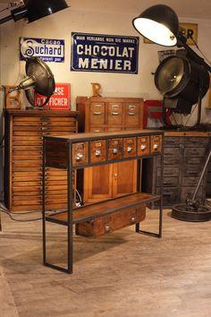 console industrielle realisé avec des vieux tiroirs