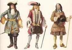 17th century ~ da sinistra a destra: abito militare; costume degli anni '90; costume di popolano dei dintorni di Parigi