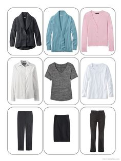 The 3 by 3 view of a business travel wardrobe in charcoal grey, soft teal, pink and white