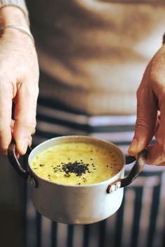 Fresh turmeric and potatoes soup (potatoes, onions, celery, fresh turmeric, vegetable broth, olive oil)