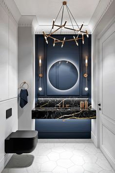 Cheap Home Decor Grey Based Neoclassical Interior Design With Muted & Metallic Accents.Cheap Home Decor Grey Based Neoclassical Interior Design With Muted & Metallic Accents Interior Neoclásico, Apartment Interior Design, Bathroom Interior Design, Marble Interior, Restroom Design, Interior Designing, Black Interior Design, Color Interior, Natural Interior