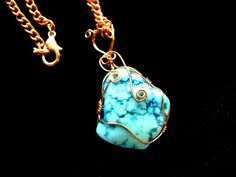 Copper wire wrapped natural turquoise necklace, Made in the USA. by IntricateHandiwork, $35.00 American Made jewelry!