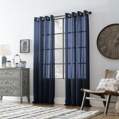 Shop for Archaeo Slub Textured Linen Blend Grommet Top Curtain. Get free delivery On EVERYTHING* Overstock - Your Online Home Decor Outlet Store! Cool Curtains, Beautiful Curtains, Hanging Curtains, Curtain Fabric, Curtain Rods, Window Curtains, Curtain Styles, Window Coverings, Home Decor Outlet
