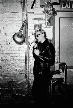 Andy Warhol at the Factory on the telephone, New York, 1968