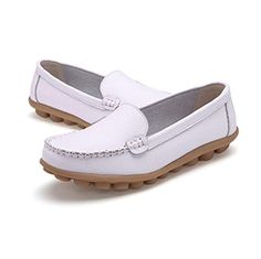 AMA(TM) Women Leather Flats Slip On Loafers Soft Comfort Driving Walk Shoes (6.5, white) >>> Review more details @